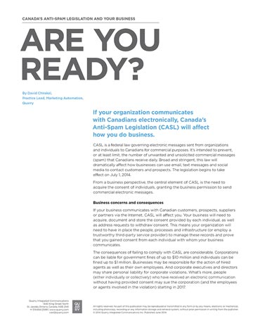 Canada's Anti-Spam Legislation and Your Business: Are You Ready?